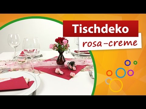 ♥ Tischdeko Rosa Creme ♥ Tischdekoration - Trendmarkt24