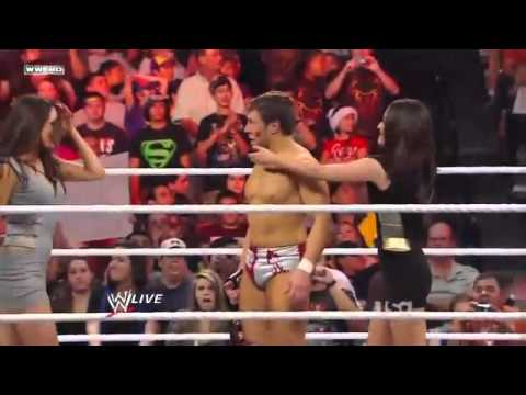 The Bella Twins kissing Daniel Bryan