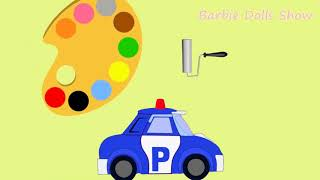 Robocar Poli Coloring Book speed coloring Art Learning Colours to Kids Children
