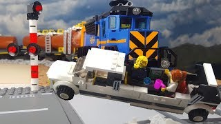 Lego train crash with limousine