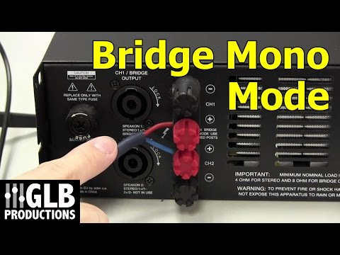 How to set up and connect a power amplifier in bridge mode