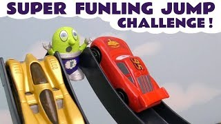 Super Funling Jump Challenge with Hot Wheels Avengers 4 Superheroes and Disney Pixar Cars 3 McQueen