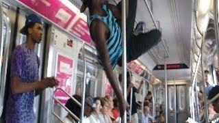 Dancers Q Train Brooklyn Bound -  New York - Pole Dancing - lite feet