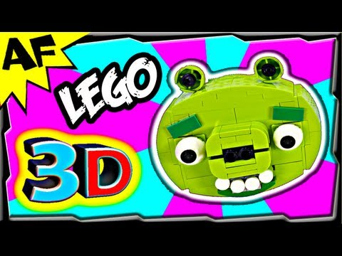 3D Lego Angry Birds GREEN PIG Animated Review with Building Instructions