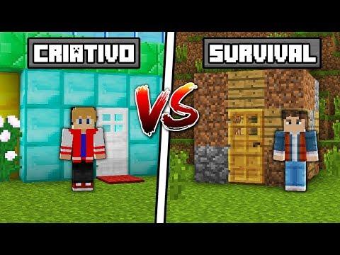 MODO CRIATIVO VS SURVIVAL NO MINECRAFT !