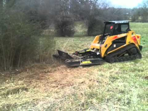 Show Me A Picture Of A Bobcat >> Skid Steer Rotary Brush Cutter Mowing thick privitt bush - YouTube