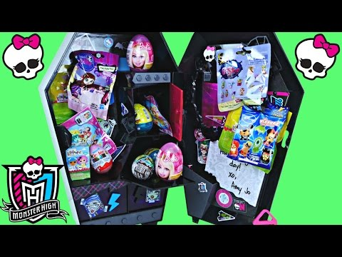 Huge Monster High Surprise Eggs Locker Barbie Kinder Disney Princess Lalaloopsy Hello Kitty Toys video