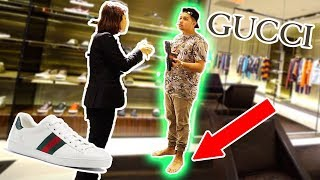 TRYING TO BUY SHOES AT GUCCI BAREFOOT!! SNEAKER SHOPPING GONE WRONG!!