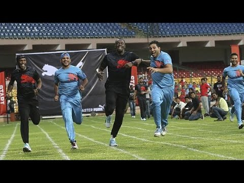 Usain Bolt plays promotional cricket match with Indian legends...
