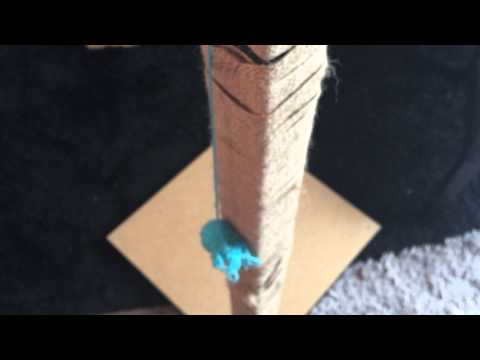 Easy cheap home self DIY made climb and scratch post with ikea table. Bengal cat daily:3