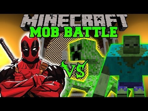 MUTANT CREEPER AND MUTANT ZOMBIE VS DEADPOOL - Minecraft Mod Battle - Mob Battle