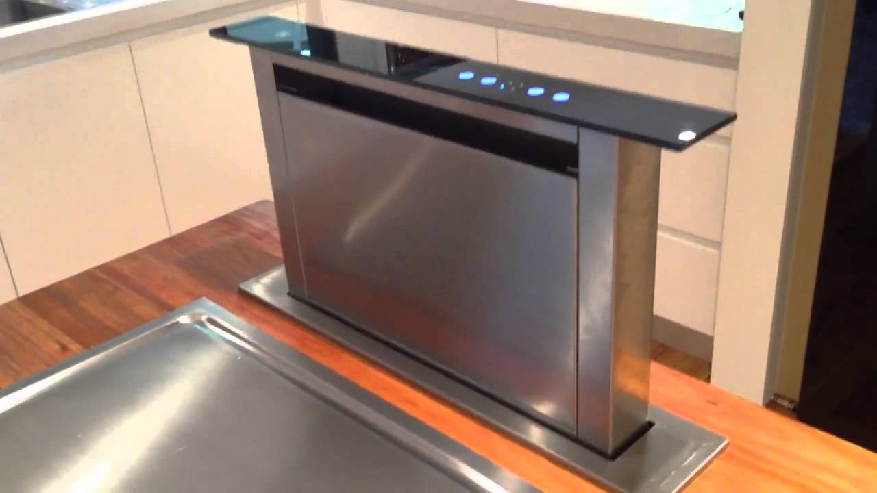 Downdraft range hood telescopic by erwin interiors youtube for Kitchen range with downdraft ventilation