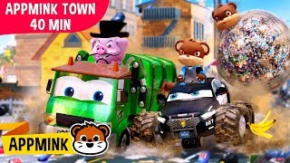 appMink Town Garbage Truck & Police Chase | Toddler Learning Educational video