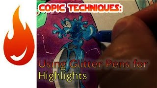 Copic Techniques: Using Glitter Pens for Highlights