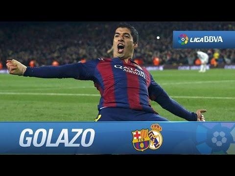 Control y gol de Suárez (2-1) en el FC Barcelona - Real Madrid