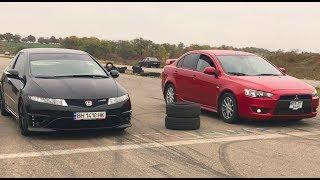 Mitsubishi lancer X (turbo 300 h.p+) vs Honda civic type-R .( ??? ?????)