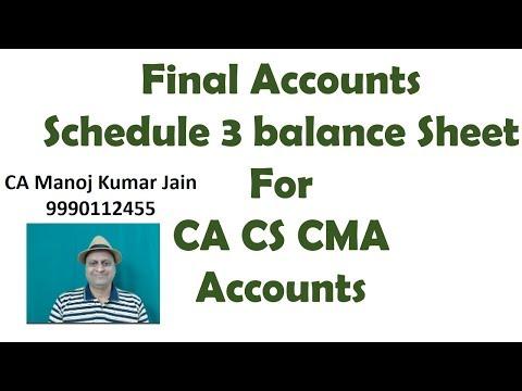 Final Accounts Schedule 6 Balance Sheet. Video Classes for CA IPCC CS CMA Video Lectures.