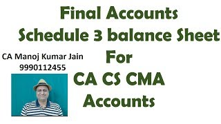 Final Accounts Schedule 3 Balance Sheet. Video Classes for CA IPCC CS CMA Video Lectures.