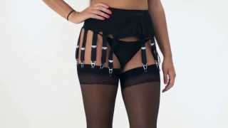 UK Tights - Sassy 14 Strap Plain Black Suspender Belt