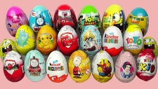 21 Surprise Eggs Kinder Surprise Cars 2 Spongebob Thomas Zaini Surprise