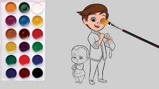 The Boss Baby Family Coloring Page Learn Colors for Kids