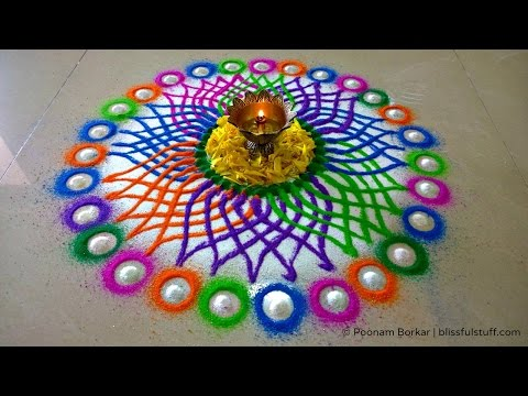 Diwali Special Rangoli Design - Multicolored Flower Rangoli video