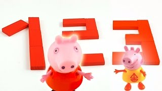 Learn Numbers For Toddlers with red wooden blocks and Peppa Pig Stop Motion Video