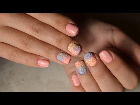 Экспресс дизайн: Градиент Бархатным Песком на ногтях