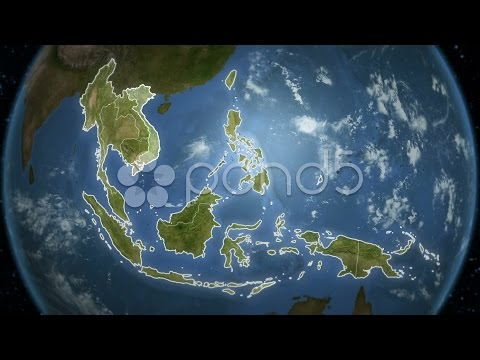 Spinning Earth With South-East Asian Country Maps.. Stock Footage