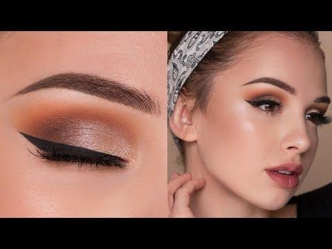 Affordable Drugstore Makeup Tutorial   Warm Orange Toned Smokey Eye