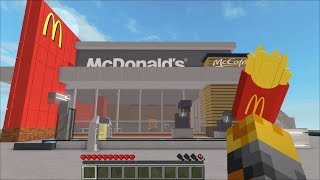 Minecraft WORKING AT MCDONALDS WITH OUR ZOMBIE / BUILDING OUR MCDONALDS !! Minecraft Mods