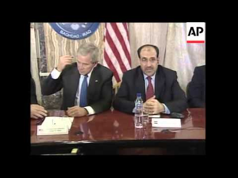 Pres Bush addresses Iraqi cabinet with PM Maliki during surprise visit