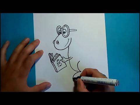 Como dibujar un dinosaurio paso a paso 11   How to draw a dinosaur 11
