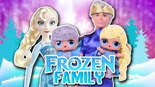 ❄️MAGICAL FROZEN FAMILY ❄️ with BARBIE & LOL SURPRISE DOLLS ⛄ -Toy Transformations