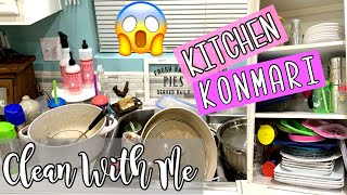 KONMARI METHOD | CLEAN WITH ME 2019 | KITCHEN DECLUTTER + ORGANIZE | CLEANING MOTIVATION