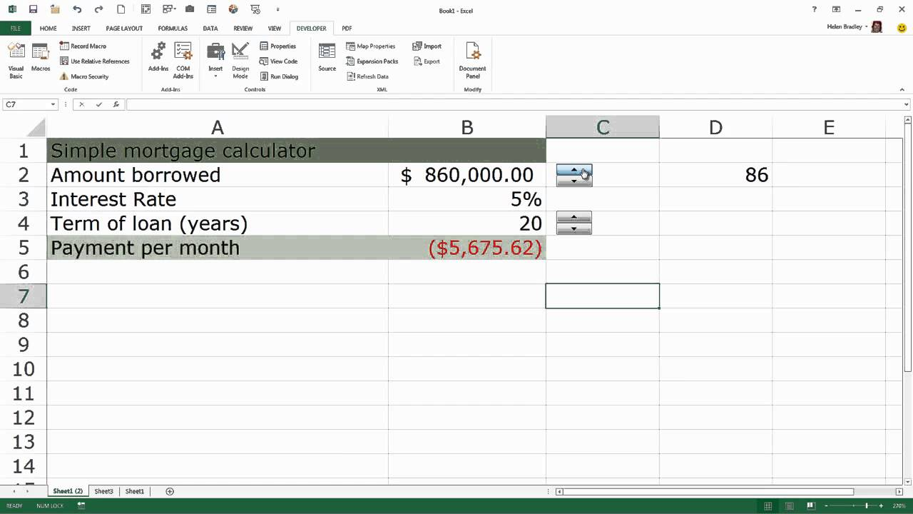 learning excel use spin button for data entry   youtube