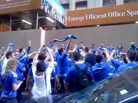 Chelsea fans celebrating 2012 champions league final win over Bayern Munich.3gp