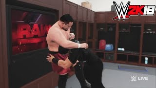 WWE-2K18-Roman Reigns vs.Samoa Joe  - backstage brawl  Match- -RAW 2017