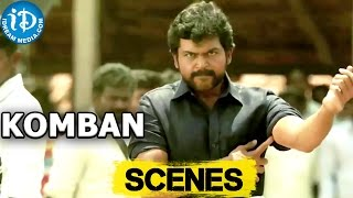 Komban Movie || Karthi, Thambi Ramaiah Fight in market Scene