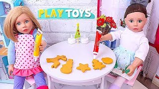 AG Baby Doll Baking Play Doh Cookies and Decoration in the Dollhouse Kitchen! 🎀
