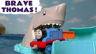 Thomas & Friends Brave Toy Trains with Shark Avalanche and Surprise Eggs with Colors for kids TT4U