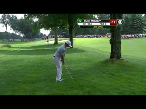 Rory McIlroy's approach threads the needle on No. 1 at Bridgestone