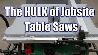 "Hitachi C10RJ 10"" Jobsite Table Saw with 35"" Rip Capacity and Fold and Roll Stand"