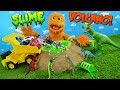 GREEN SLIME Volcano filled with cars & dinosaurs! t-rex in metallic slime! Family Friendly dinasaurs