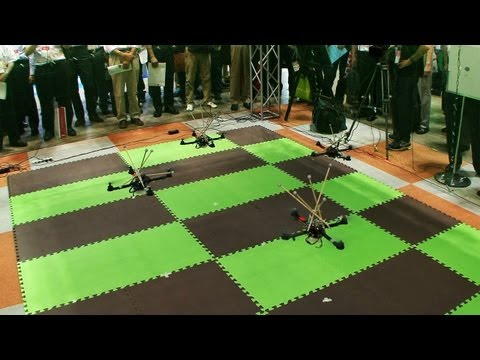 Quadcoptors flying in formation using motion capture #DigInfo