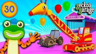 Transforming Trucks Into Animals at Gecko's Garage | Car Wash Party | Educational Videos For Kids