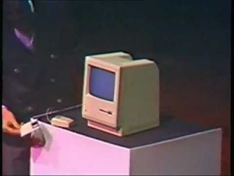 Steve Jobs presenting the first Mac in 1984