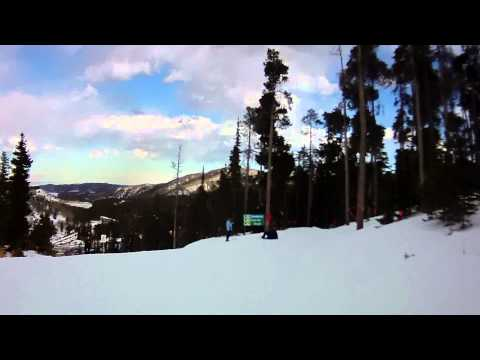 Skiing top to bottom run at Eldora Mountain Resort