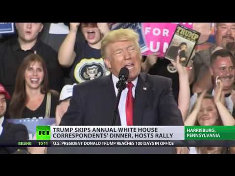 Trump Skips Annual White House Dinner With Media, Hosts 100-day Rally In Pennsylvania