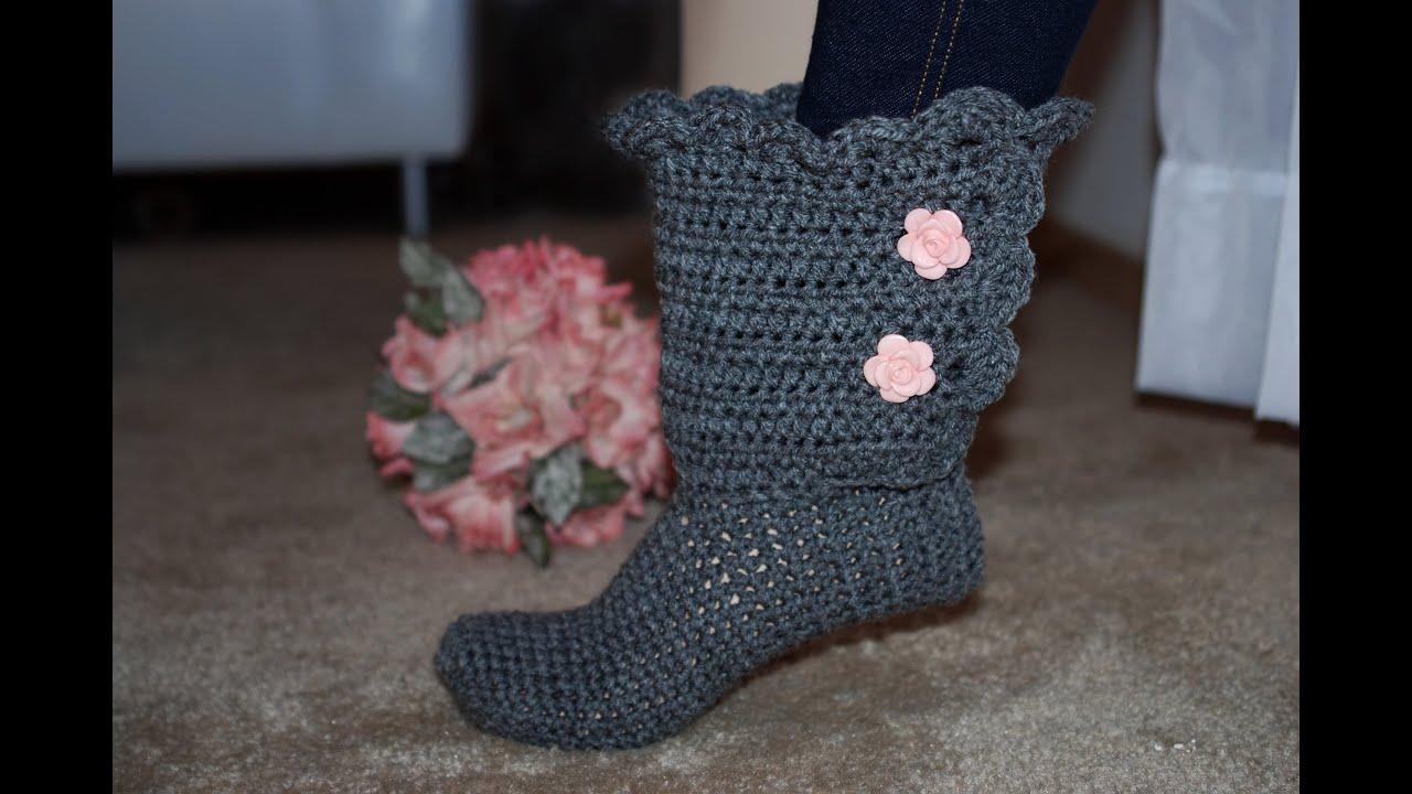 Crocheting On Youtube : Left Hand** Glamas Fancy Bootie Slipper - YouTube